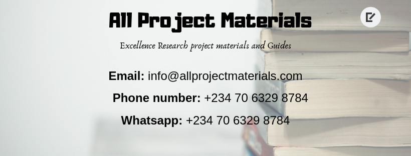 Complete Research Project topics and materials